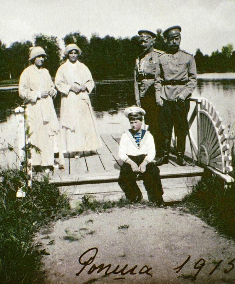 Maria and Anastasia Romanov, Alexei Romanov and Tsar Nicholas II