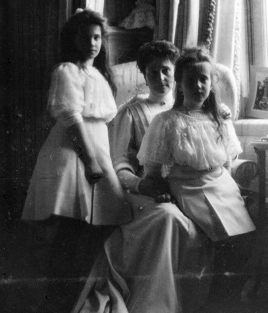 Tsarina Alexandra and Grand Duchesses Olga and Tatiana Romanov