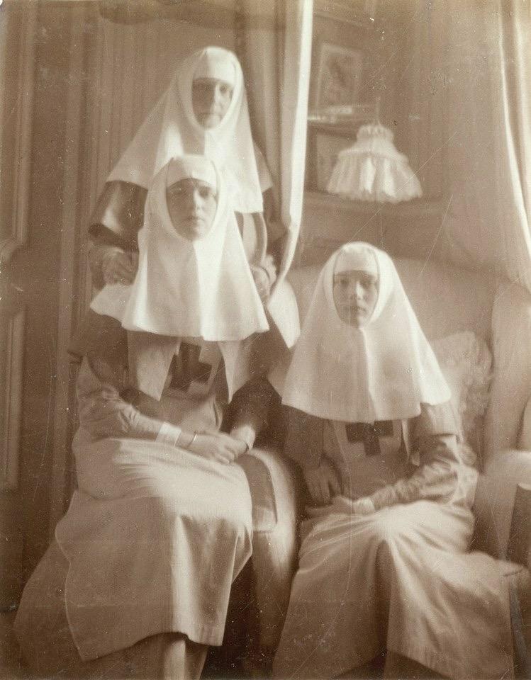 Sisters Alexandra, Olga and Tatiana Romanov