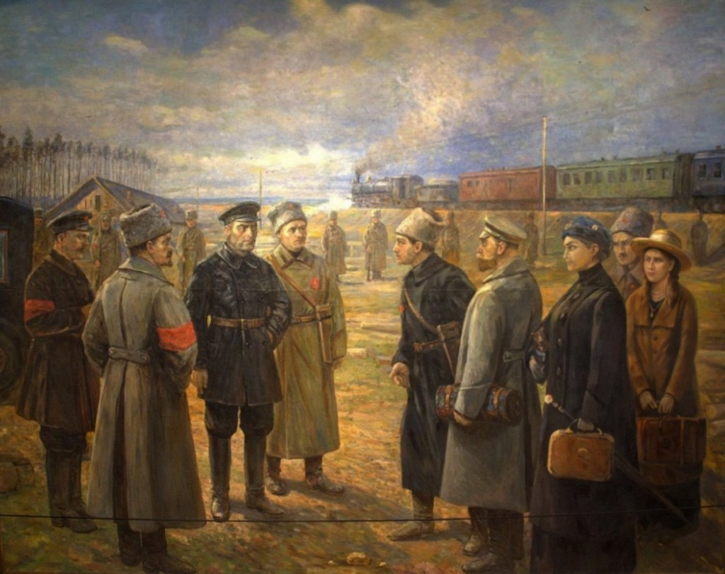 Artist's depiction of Maria Romanov's arrival at Yekaterinburg with her parents.
