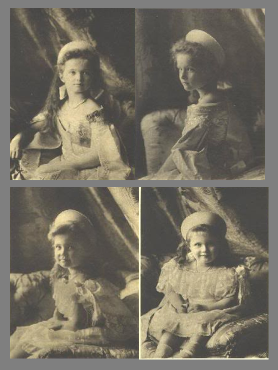 Grand Duchesses Olga, Tatiana, Maria and Anastasia in Russian court dress.