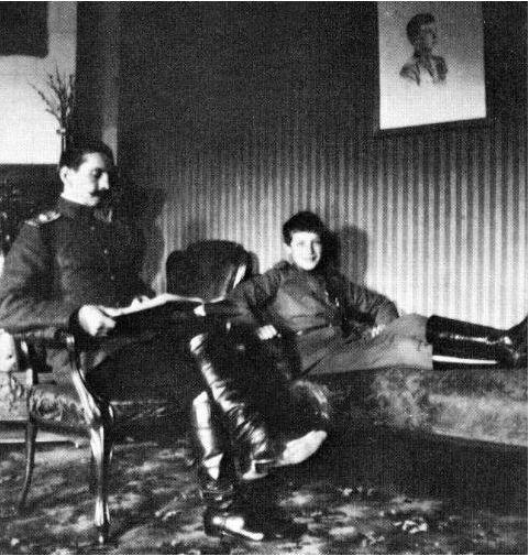 Tsarevich Alexei and his French tutor