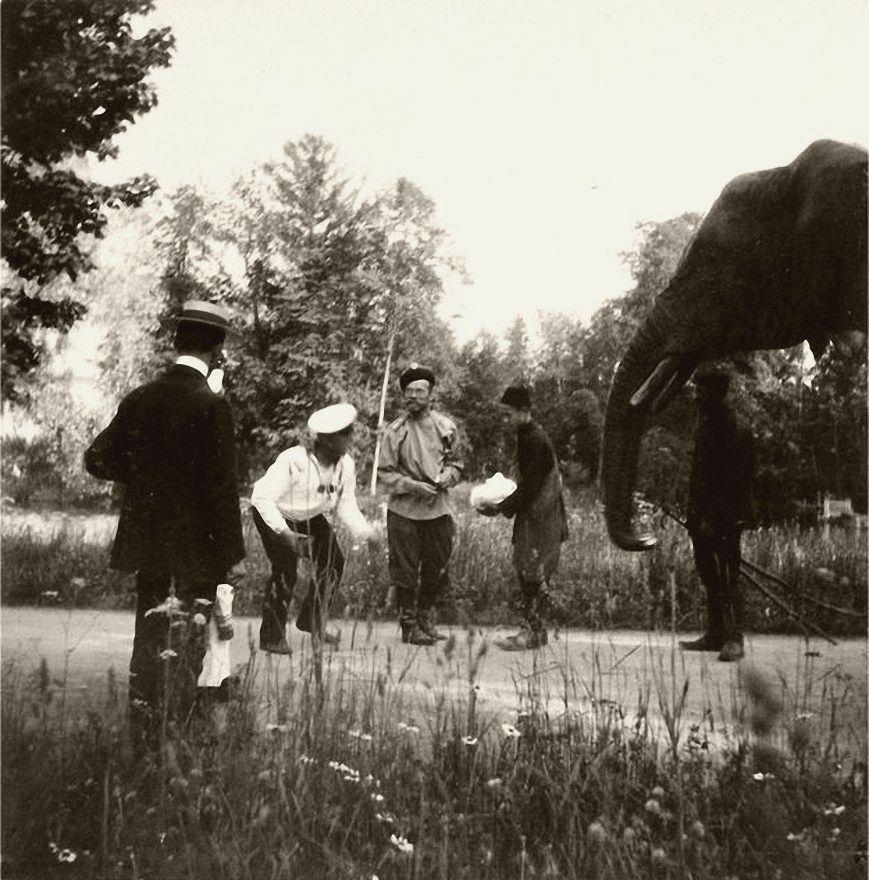 Tsar Nicholas II with the Romanov family pet elephant