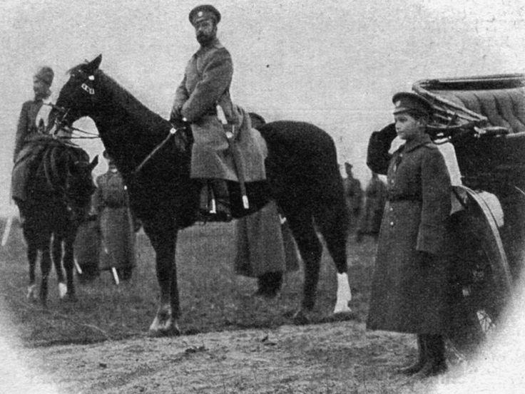 Tsarevich Alexei Romanov with his father Tsar Nicholas II at Stavka Military Headquarters