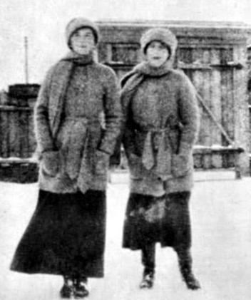 Grand Duchess Olga and Grand Duchess Anastasia in exile in Tobolsk