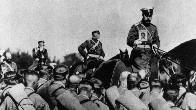 Tsar Nicholas II inspects the troops