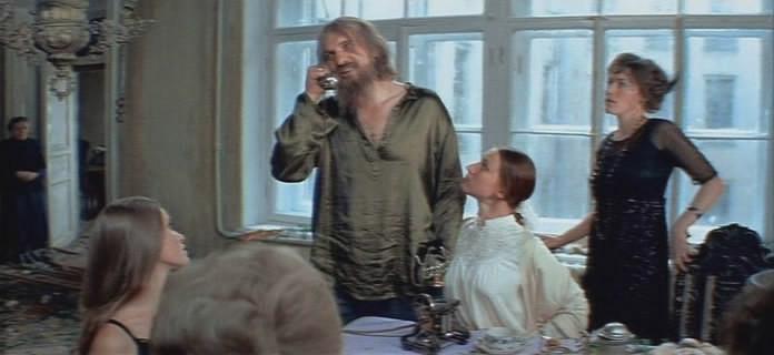 "Grigori Rasputin with one of the grand duchesses in a Russian film ""Agonia"""