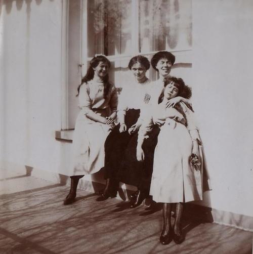 Grand Duchess Olga with her aunt and namesake Grand Duchess Olga Alexandrovna and her two sisters Grand Duchesses Maria and Anastasia.