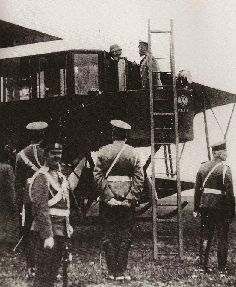 "Tsar Nicholas II with one of Sikorsky ""aeroplanes"""
