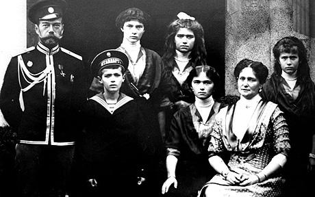 Romanov family: Tsar Nicholas II, Grand Duchess Olga, Grand Duchess Tatiana, Grand Duchess Maria, Grand Duchess Anastasia and Tsarevich Alexei.