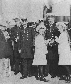 Grand Duchess Olga Romanov and Grand Duchess Tatiana Romanov on The Standart with some officers.