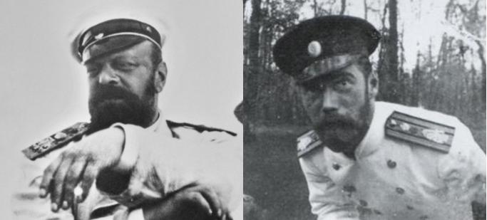 Tsar Alexander III and his son Tsar Nicholas II.