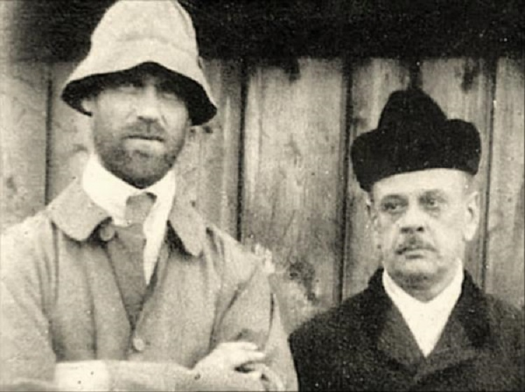 Last known photograph of Grand Duke Michael Alexandrovich and his secretary, taken in Perm shortly before their murder.