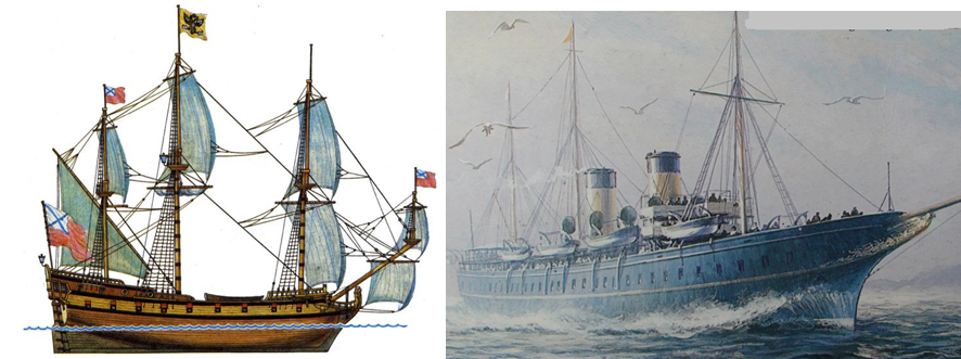 "Left: Peter the Great's ""Standart"" and right: ""Standart"" which belonged to the Romanov family in the 20th century."