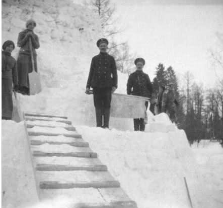 Grand Duchess Olga Romanov and Grand Duchess Tatiana Romanov at the snow tower.