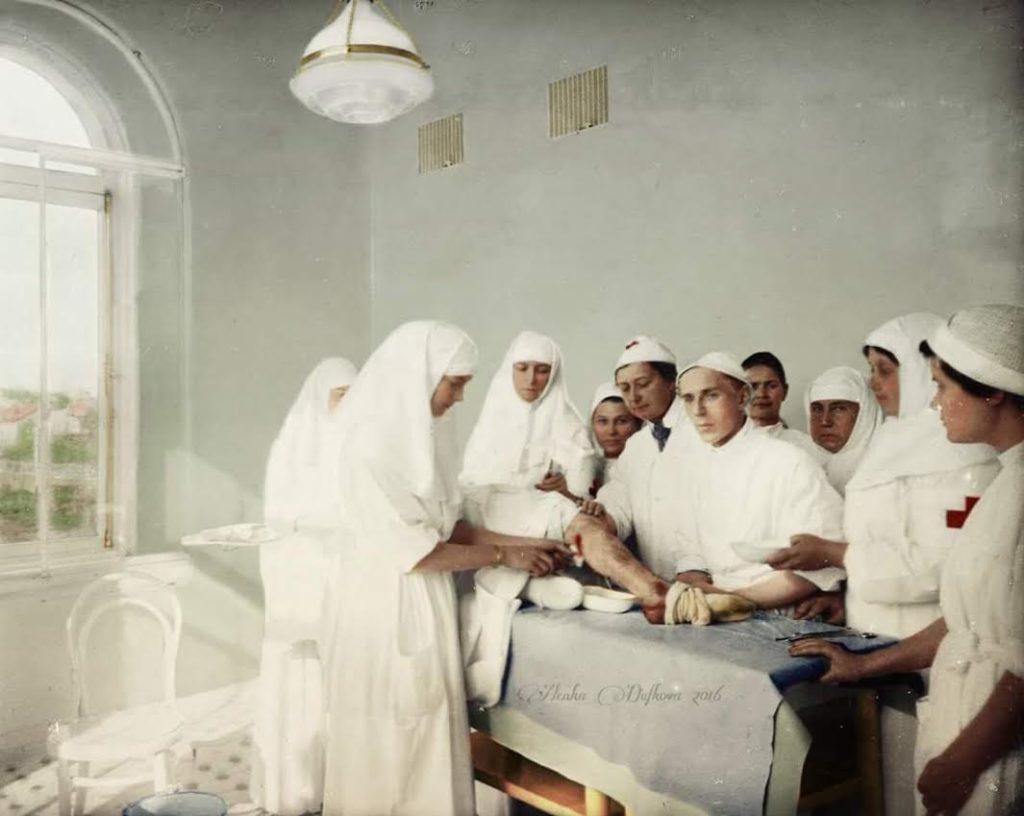 Sister of Mercy Tatiana Romanov at her infirmary. Colorized by Alena Dufkova.