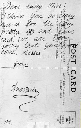 1914 postcard from Anastasia Romanov to her Aunt Eleonor of Hesse