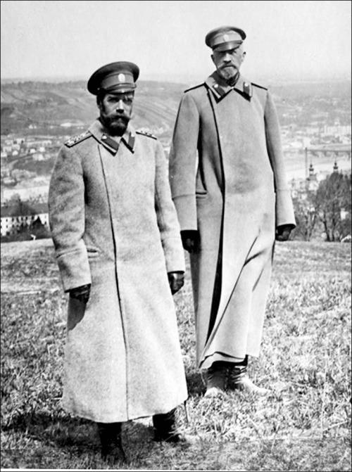 "Nicholas II circa 1915 with ""Nikolasha"", Grand Duke Nikolai Nikolaevich."
